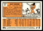 2012 Topps Heritage #391  Matt Moore  Back Thumbnail