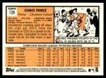 2012 Topps Heritage #129  Chris Perez  Back Thumbnail