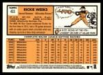 2012 Topps Heritage #433  Rickie Weeks  Back Thumbnail