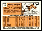 2012 Topps Heritage #155  Rafael Soriano  Back Thumbnail