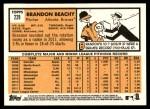 2012 Topps Heritage #229  Brandon Beachy  Back Thumbnail