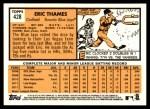 2012 Topps Heritage #428  Eric Thames  Back Thumbnail