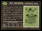 1969 Topps #11  Bill Munson  Back Thumbnail