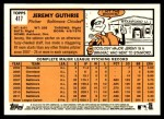 2012 Topps Heritage #417  Jeremy Guthrie  Back Thumbnail