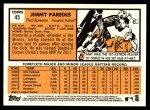 2012 Topps Heritage #45  Jimmy Paredes  Back Thumbnail