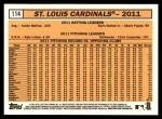 2012 Topps Heritage #114   Cardinals Team Back Thumbnail