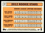 2012 Topps Heritage #321   -  Drew Pomeranz / Nate Spears / Corey Brown / Adron Chambers Rookies Back Thumbnail