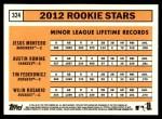 2012 Topps Heritage #324   -  Jesus Montero / Austin Romine / Tim Federowicz / Wilin Rosario Rookies Back Thumbnail