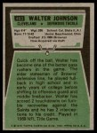 1975 Topps #463  Walter Johnson  Back Thumbnail