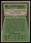 1975 Topps #447  David Knight  Back Thumbnail