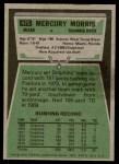 1975 Topps #475  Mercury Morris  Back Thumbnail