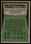 1975 Topps #482  Dave Elmendorf  Back Thumbnail