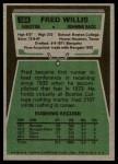1975 Topps #504  Fred Willis  Back Thumbnail