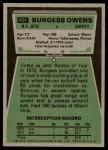 1975 Topps #424  Burgess Owens  Back Thumbnail