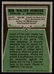 1975 Topps #463  Walter Johnson  Back Thumbnail