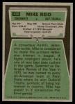 1975 Topps #430  Mike Reid  Back Thumbnail