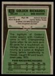 1975 Topps #464  Golden Richards  Back Thumbnail