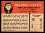 1961 Fleer #58  Marty Marion  Back Thumbnail