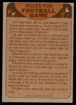 1974 Topps  Checklist   Philadelphia Eagles Team Back Thumbnail