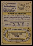 1974 Topps #101 ONE Gary Garrison  Back Thumbnail