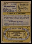 1974 Topps #228  Terry Owens  Back Thumbnail