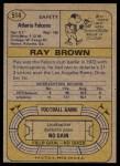 1974 Topps #514  Ray Brown   Back Thumbnail