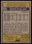 1979 Topps #254  Mike Fuller  Back Thumbnail