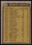 1979 Topps #76   Patriots Leaders Checklist Back Thumbnail