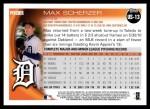 2010 Topps Update #13  Max Scherzer  Back Thumbnail