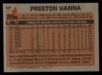 1983 Topps #127  Preston Hanna  Back Thumbnail