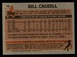 1983 Topps #78  Bill Caudill  Back Thumbnail