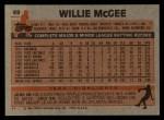 1983 Topps #49  Willie McGee  Back Thumbnail