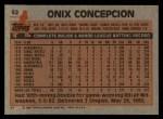 1983 Topps #52  Onix Concepcion  Back Thumbnail