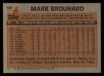 1983 Topps #167  Mark Brouhard  Back Thumbnail