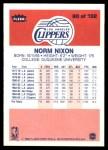 1986 Fleer #80  Norm Nixon  Back Thumbnail
