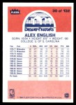 1986 Fleer #30  Alex English  Back Thumbnail