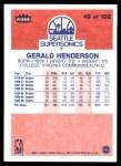 1986 Fleer #45  Gerald Henderson  Back Thumbnail