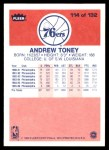 1986 Fleer #114  Andrew Toney  Back Thumbnail
