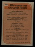 1983 Topps #464   -  Gaylord Perry Super Veteran Back Thumbnail