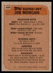 1983 Topps #604   -  Joe Morgan Super Veteran Back Thumbnail