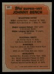 1983 Topps #61   -  Johnny Bench Super Veteran Back Thumbnail