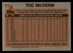 1983 Topps #510  Tug McGraw  Back Thumbnail