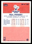 1986 Fleer #88  Paul Pressey  Back Thumbnail