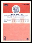 1986 Fleer #77  Chris Mullin  Back Thumbnail