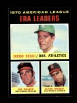 1971 Topps #67   -  Jim Palmer / Diego Segui / Clyde Wright AL ERA Leaders  Front Thumbnail