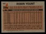 1983 Topps #350  Robin Yount  Back Thumbnail