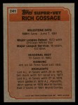 1983 Topps #241   -  Goose Gossage Super Veteran Back Thumbnail