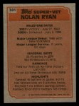 1983 Topps #361   -  Nolan Ryan Super Veteran Back Thumbnail