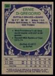 1975 Topps #45  Ernie DiGregorio  Back Thumbnail