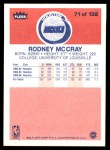 1986 Fleer #71  Rodney McCray  Back Thumbnail